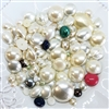 vintage assorted pearl beads, imitation pearls, pearls, modacrylic, 60's era, round, oval, chunky beads, teardrop, white pearls, creme pearls, vintage, assorted sizes, B'sue Boutiques,07466, beading supplies, jewelry making supplies