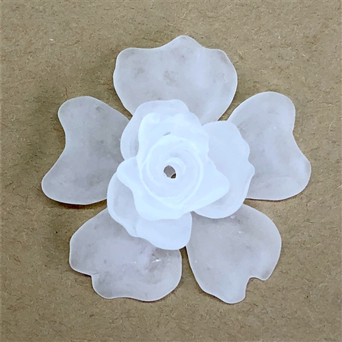 lucite flowers, jewelry making, frosted, 07502, jewelry supplies, B'sue Boutiques, drilled flower, resin, flower, flowers, bead, drilled bead, flower bead, stacking flowers, assemblage, rosette, stackable flowers, flower trio, three