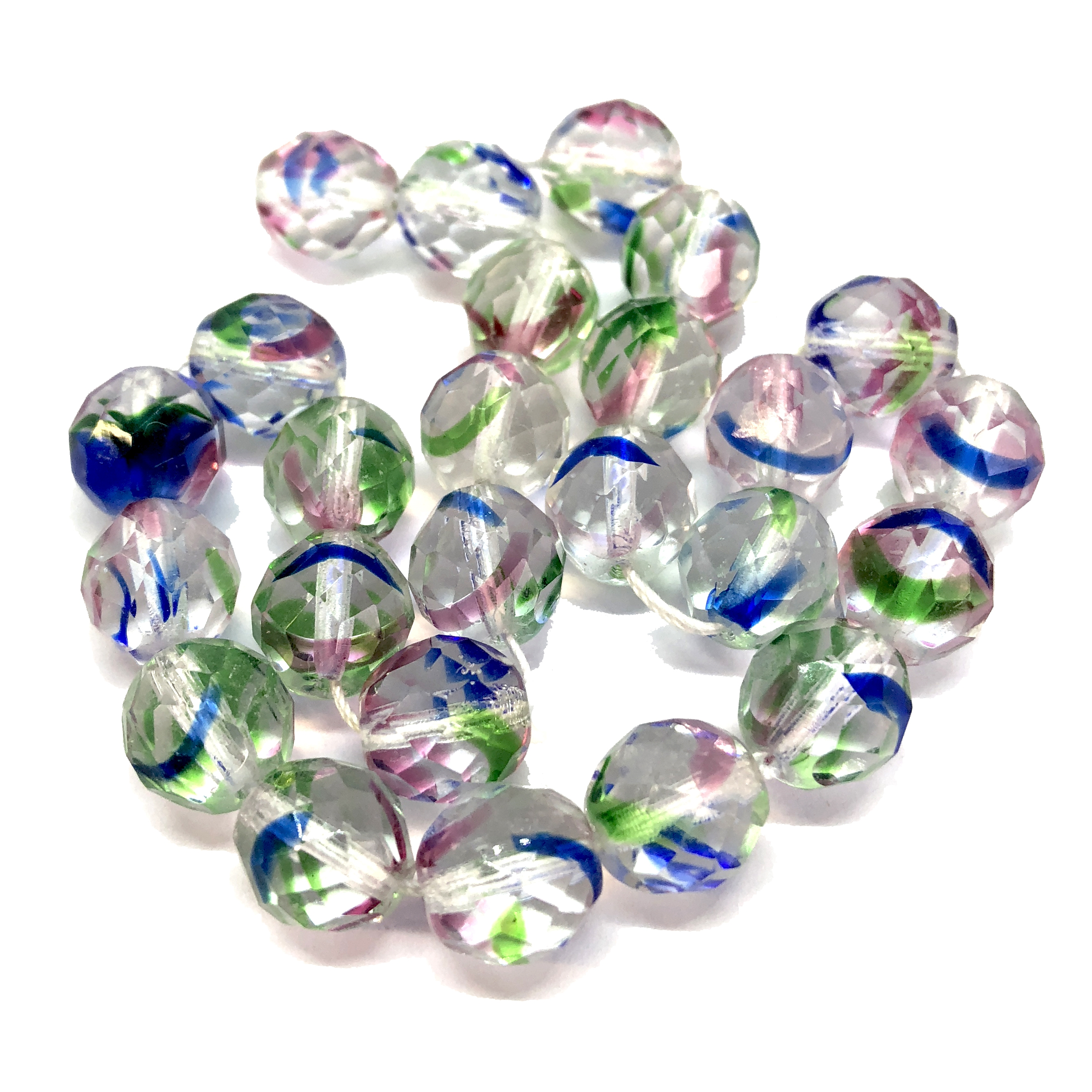 Czech glass beads, fire polished, striated, 07775, glass beads, faceted beads, beading supplies, jewelry making supplies, bsue boutiques, temp strung beads, vintage jewelry supplies, vintage beads, crystal clear, multi color
