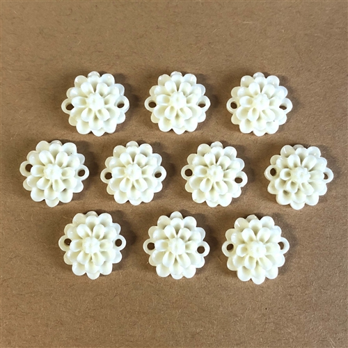 resin flower connectors, jewelry making, ivory, 08342, jewelry supplies, B'sue Boutiques, connectors, flowers, resin, flower, bead, drilled bead, flower bead, rose, roses, ivory flower, connector