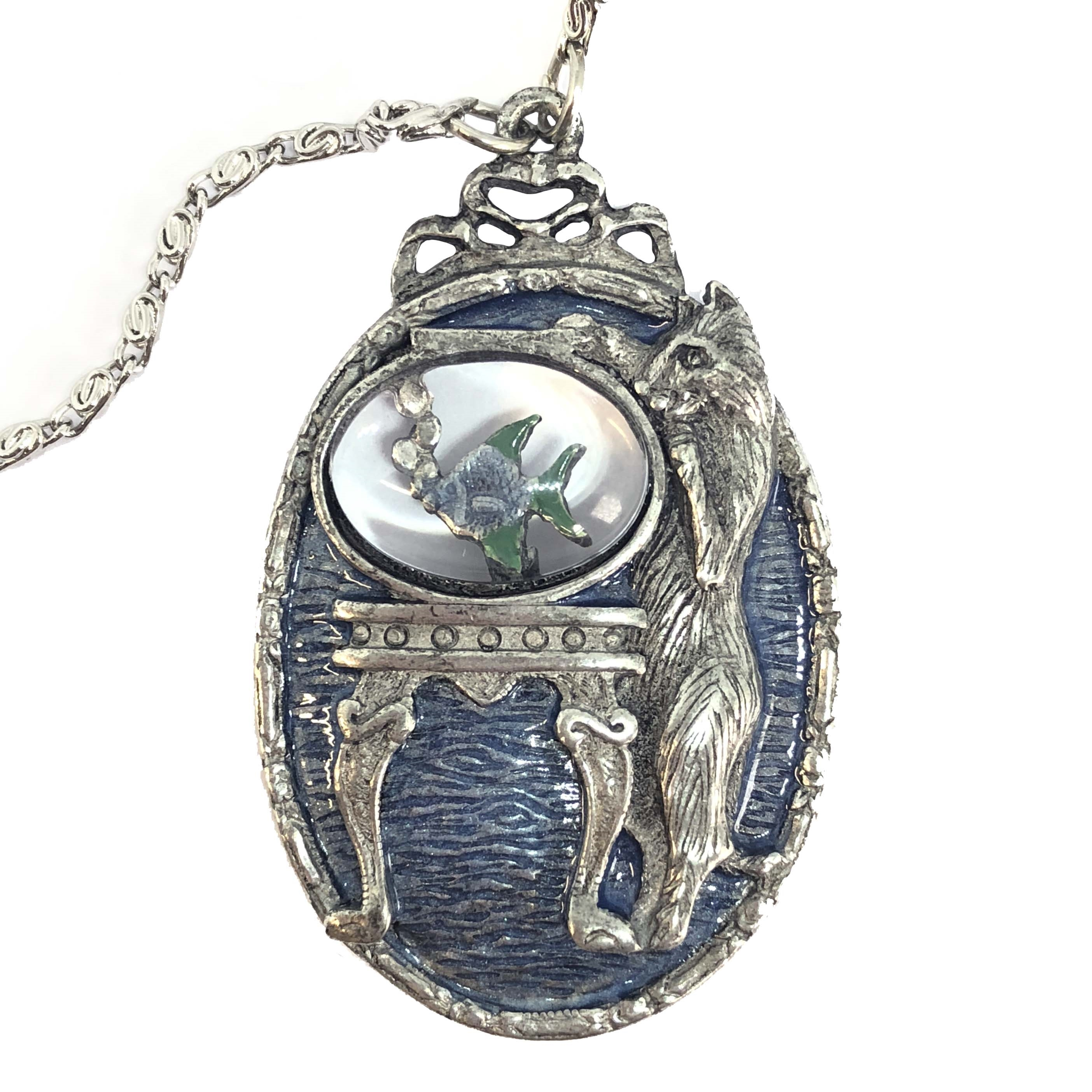 1928 Jewelry Company, cat pendant, necklace, cat necklace, kitty, silver plate, US made, made in the USA, silver plated pewter, 1928 pieces, B'sue by 1928, B'sue Boutiques, 1928/08406