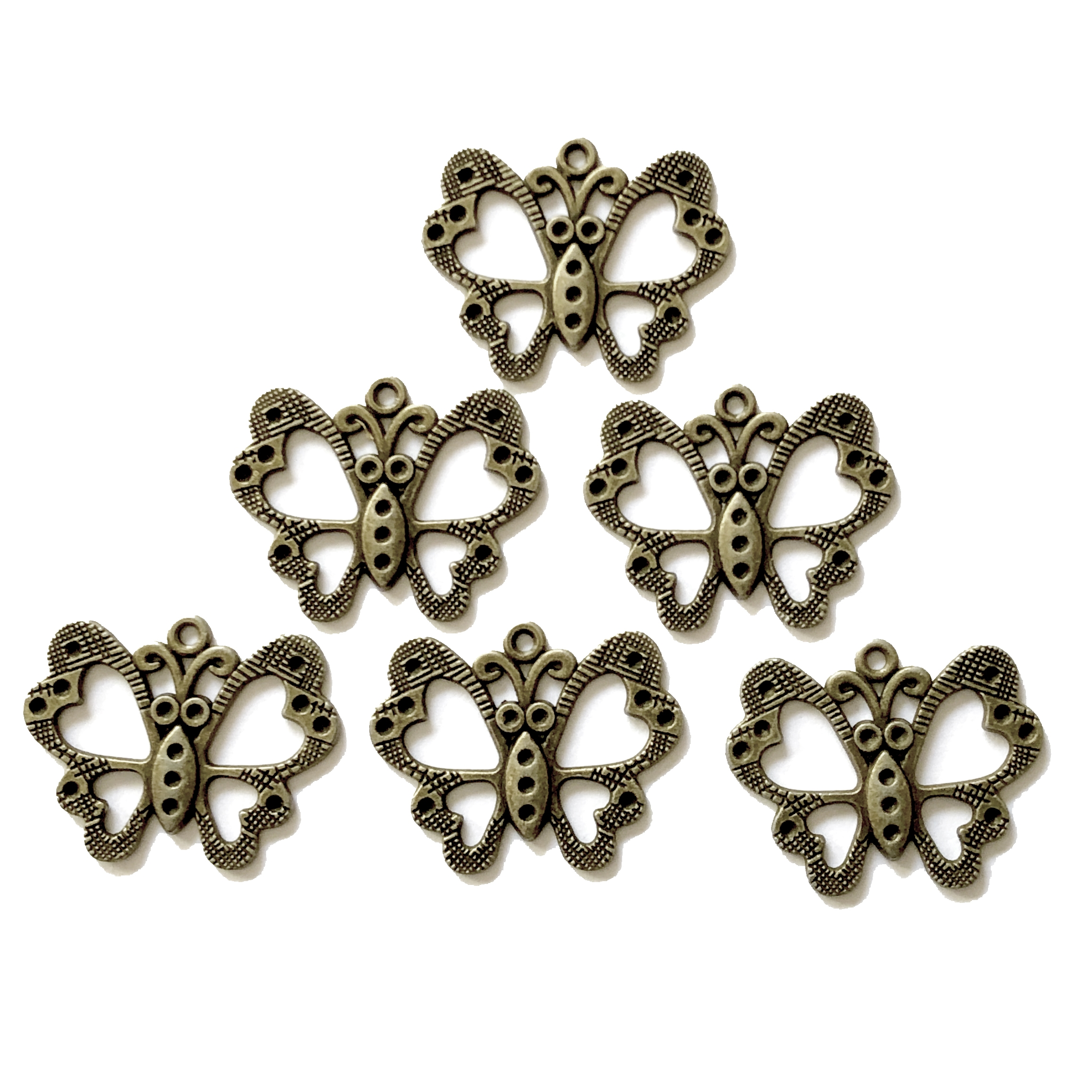 Butterfly pendants, Bronze finish, 09137, 25x31, zinc alloy, butterflies, butterfly charms, charms, stone sets, stone settings, butterfly, rhinestone settings, jewelry supplies, jewelry making, B'sue Boutiques, bugs, insects, animals