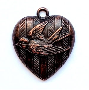 bird heart charms, bird charm, brass stamping, rusted iron brass, nickel free, US made, 24mm, one sided, bird, pendent, locket, charm, heart, heart charm, jewelry findings, hollow back, B'sue Boutiques, jewelry supplies, bird heart, heart bird, 01