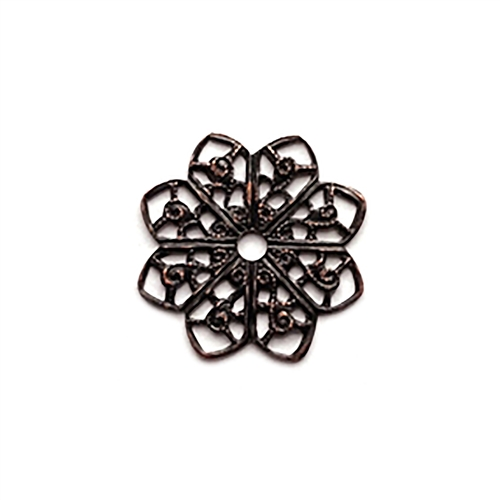 filigree base, rusted iron, filigree flower, filigree, brass filigree, brass stamping,  vintage jewelry supplies, Versatile, Victorian, loop edge filigree, Us made, nickel free, B'sue Boutiques, vintage supplies, jewelry supplies, 0112