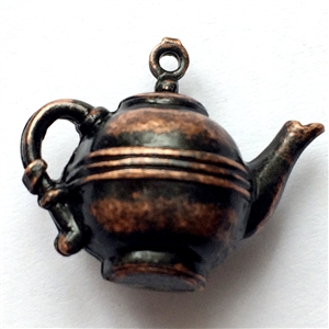 teapot, rusted iron brass, charm, pendant, vintage style, 3d hollow, tea, hollow charm, tea pot, pot, antique copper, doll tea pot, us made, nickel free, B'sue Boutiques, vintage supplies, jewelry supplies, jewelry findings, 14x21mm, tea, 02185