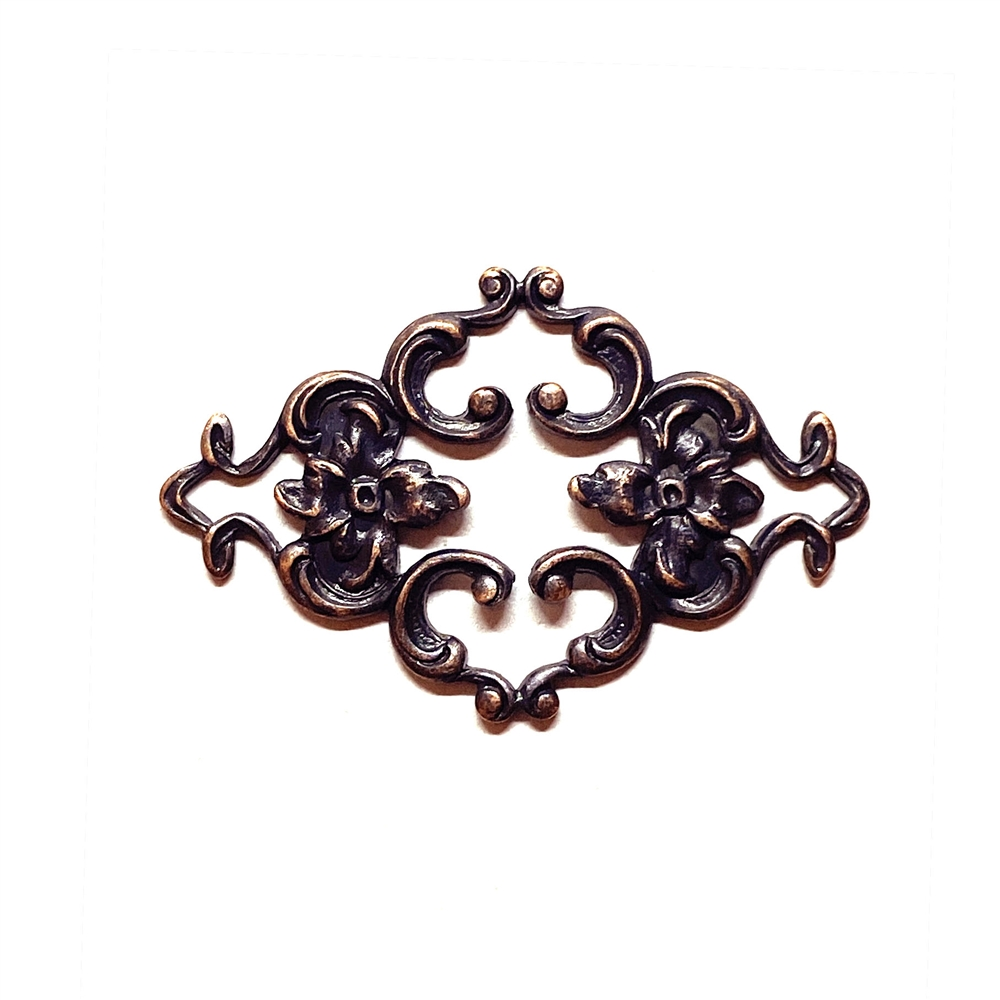 floral connector, rusted iron, connector, 23 x 35mm, flowers, brass filigree, brass stamping, brass connector, versatile, victorian, floral design, us made, nickel free, B'sue Boutiques, vintage supplies, jewelry supplies, 03167