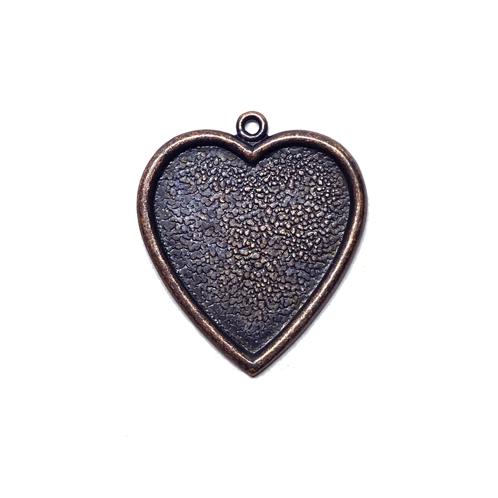 brass heart charm, brass hearts, heart pendants, rusted iron, heart mount, vintage jewelry supplies, jewelry making supplies, heart findings, 24x25mm, 03171, US made, nickel free