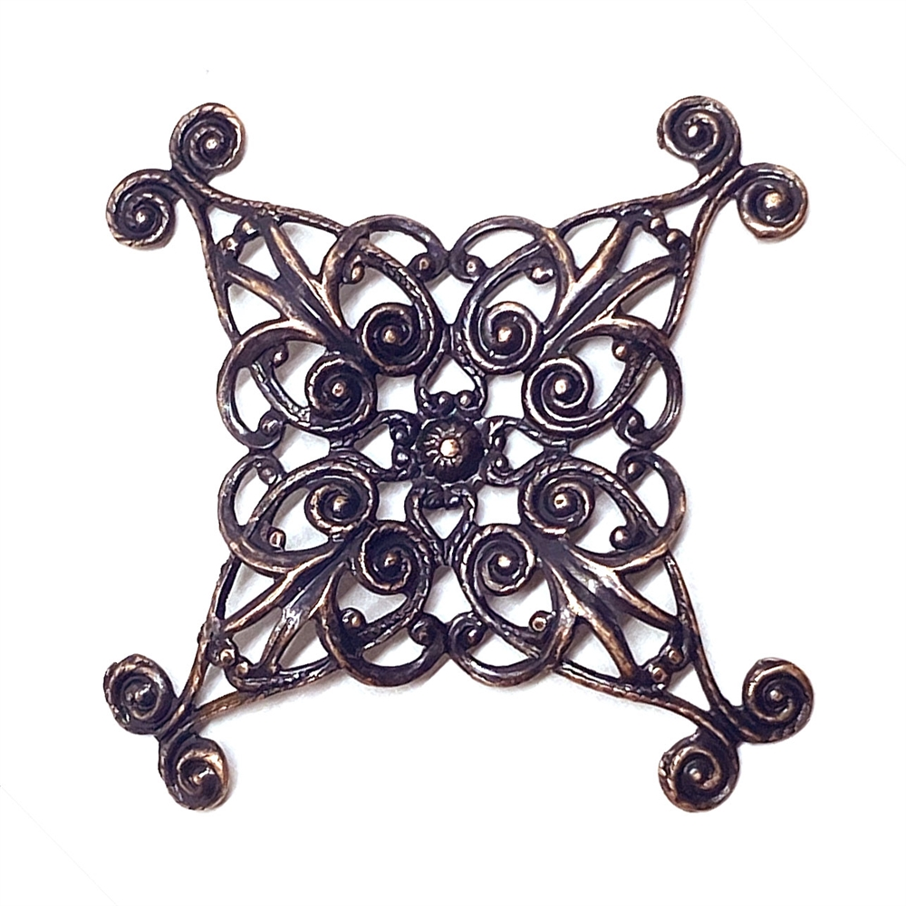 rusted iron, filigree, x shape, 03175, copper accents, filigree stamping, wrap, B'sue Boutiques, jewelry supplies, jewelry making, brass stamping