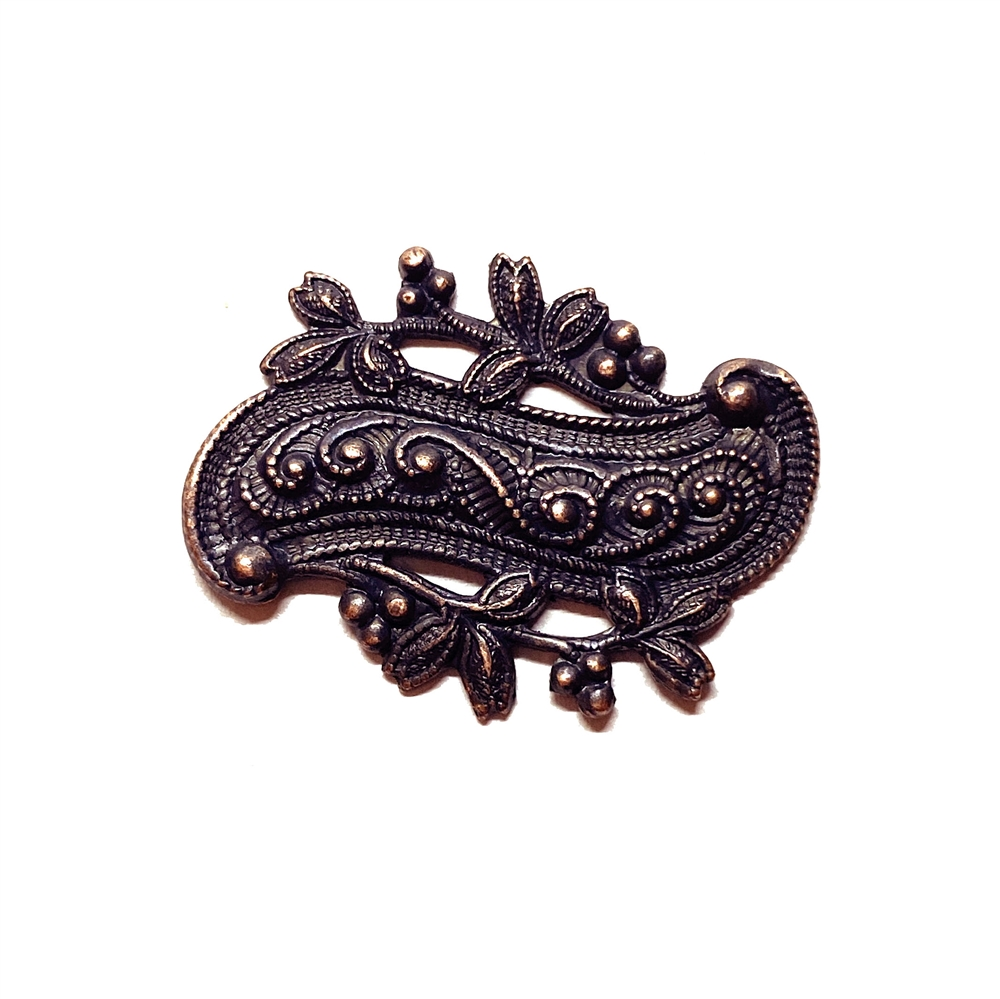 leaf stamping, rusted iron, scroll design, brass stamping, victorian, 22 x30mm, scroll, leaf, stamping, us made, nickel free, b'sue boutiques, jewelry findings, vintage supplies, jewelry supplies, jewelry making, 03196