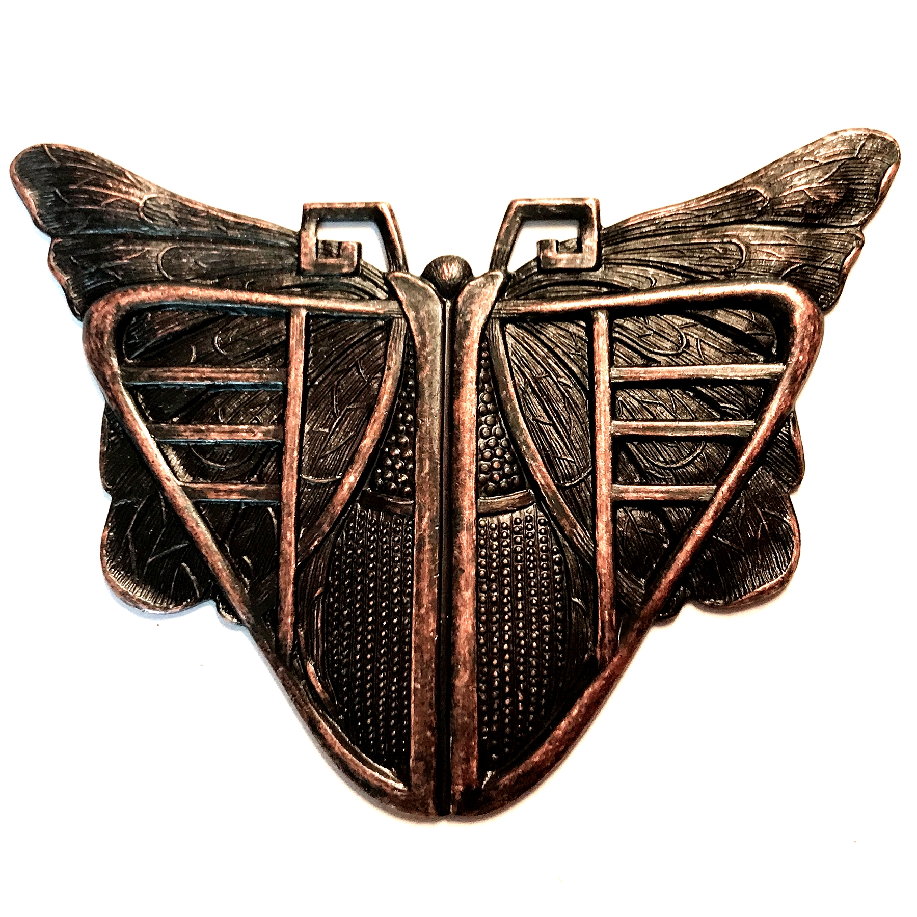 brass stampings, mothra, rusted iron brass, 03409, antique copper, Bsue Boutiques, nickel free, US made, vintage jewelry supplies, brass jewelry parts, butterfly stampings,
