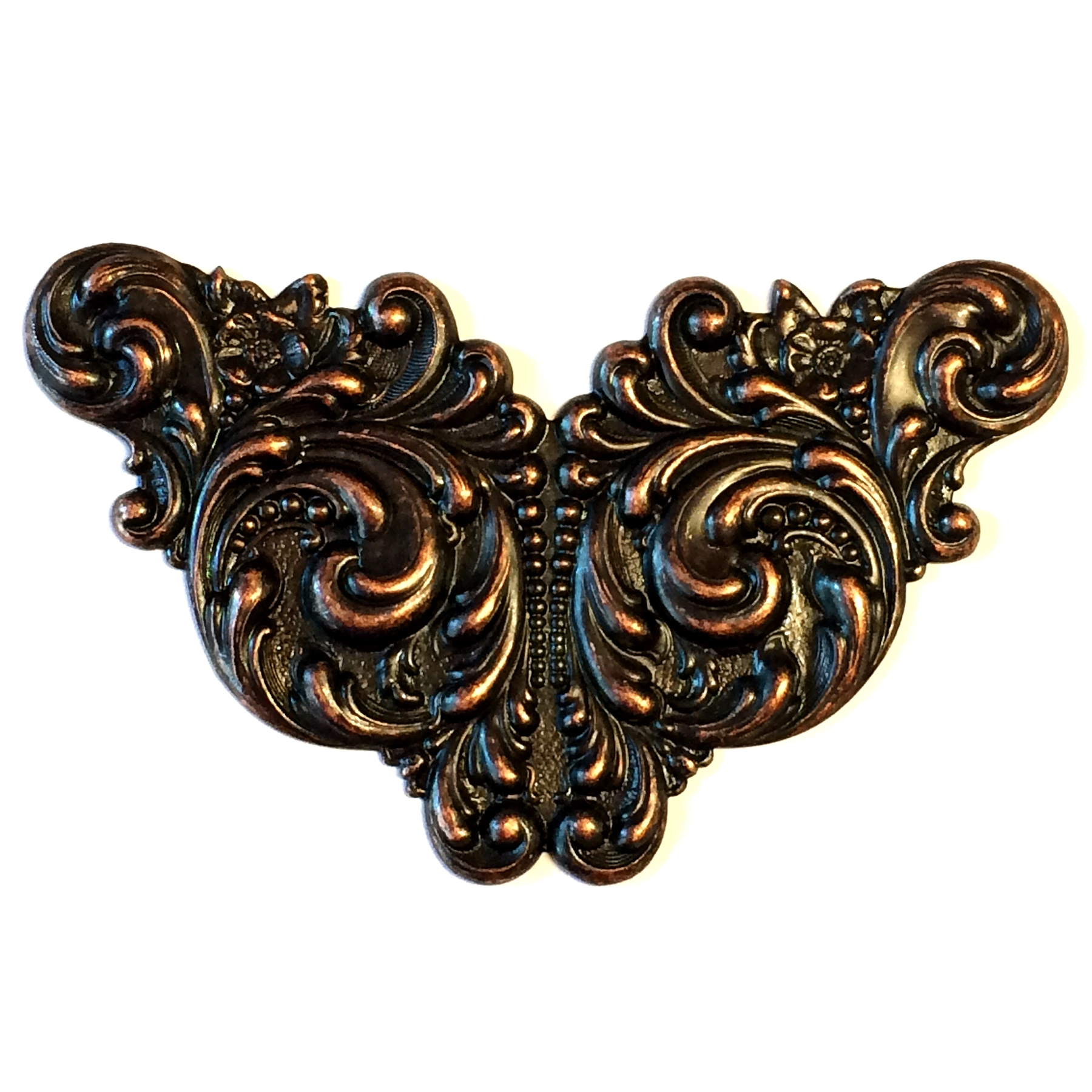 brass leaf stampings, Victorian, rusted iron, 03427, antique copper, Bsue Boutiques, nickel free, vintage jewelry supplies, brass jewelry parts, US made, winged leaf stamping