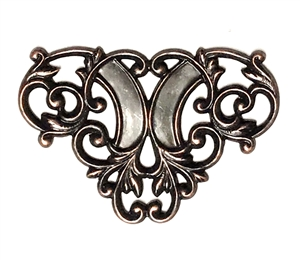 leafy plaque centerpiece, rusted iron brass, filigree, leafy plaque, centerpiece, art nouveau, 29x44mm, rusted iron, brass, connector, us made, nickel free, B'sue Boutiques, jewelry making, jewelry findings, jewelry supplies, vintage supplies, 03509