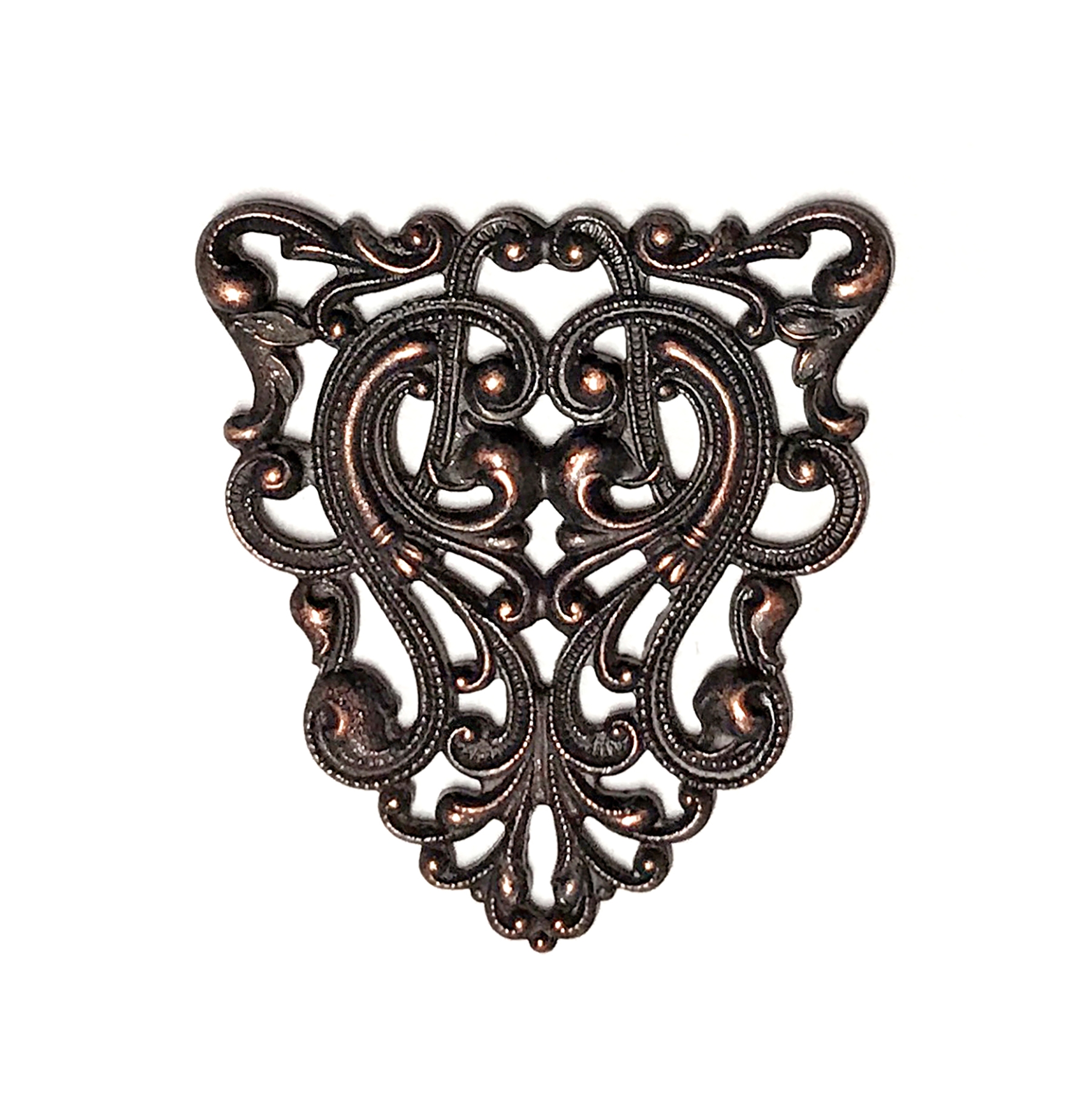 art nouveau filigree, rusted iron brass, filigree, art nouveau, brass stamping, 40x37mm, rusted iron, brass, stamping, filigree stamping, us made, nickel free, B'sue Boutiques, jewelry making, jewelry supplies, jewelry findings, vintage supplies, 03510