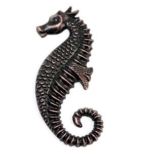 seahorse stampings, rusted iron, brass seahorse, 59x23mm, antique copper, us made, nickel free, B'sue Boutiques, jewelry making, vintage supplies, jewelry supplies, jewelry findings, 04470
