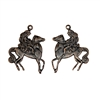 lady godiva charm, rusted iron brass, brass stamping, charms, pendent, charm accents, 25 x 19mm, pairs, 2 pieces, lady on horse, horse, lady, us made, nickel free, jewelry findings, B'sue Boutiques, vintage supplies, rusted iron, brass, 04538