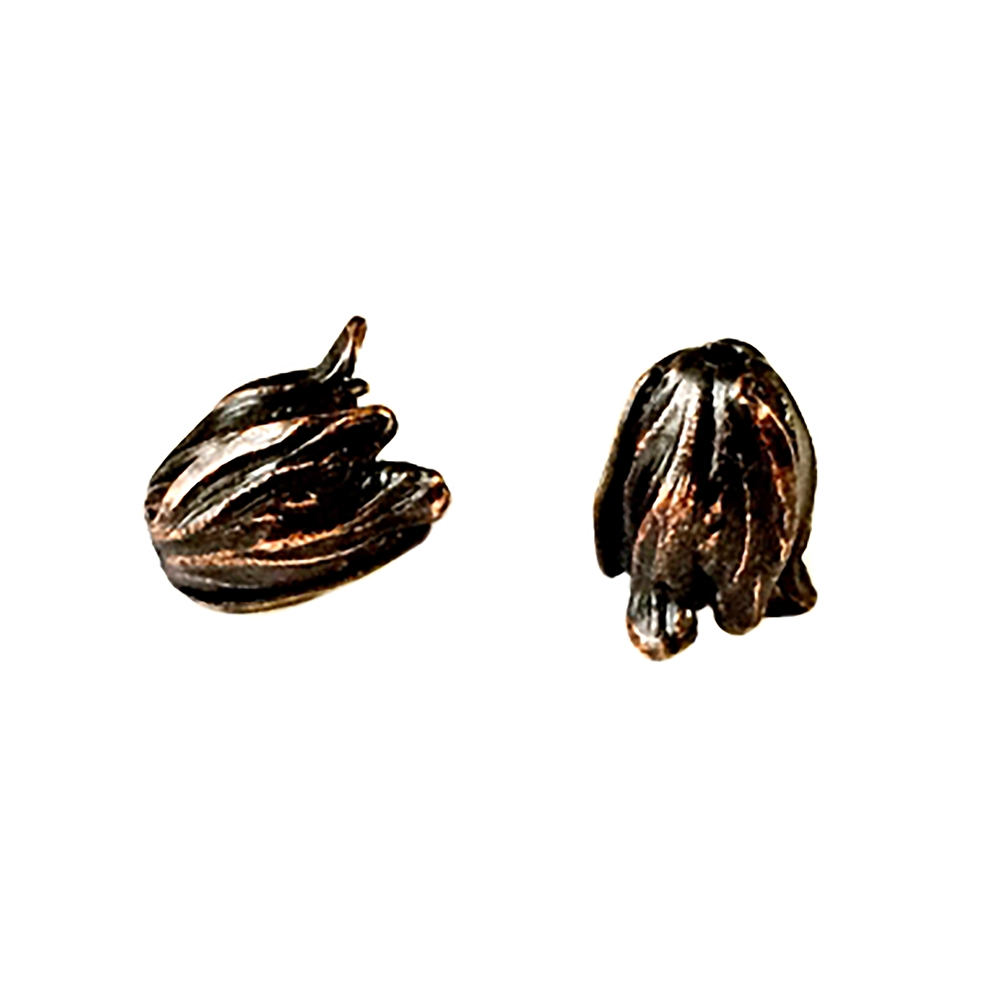 brass tulip beads, rusted iron, 057, bead caps, beading supplies, brass jewelry parts, vintage jewelry supplies, B'sue Boutiques, nickel free jewelry supplies, US made jewelry parts,