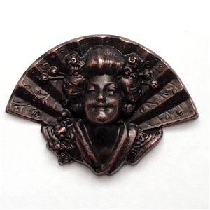 geisha with fan, rusted iron, brass stamping, fan, geisha girl, geisha, iron, rusted, brass, 39x54mm, hollow back, lady, stamping, us made, nickel free, B'sue Boutiques, jewelry making, jewelry supplies, vintage supplies, jewelry findings, girl, 0680
