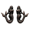 mermaid pairs, stamping, rusted iron brass, brass stamping, brass mermaids, mermaid, pairs, two pieces, victorian style, drilled, us made, nickel free, jewelry findings, B'sue Boutiques, 35x25mm, pair, iron, brass, rusted iron brass, vintage, 0682