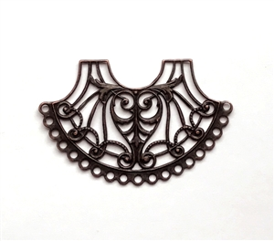 19-hole filigree design, victorian design, rusted iron, 40x61mm, filigree, victorian, fan style, easily wired, easily caged, us made, nickel free, jewelry making, vintage supplies, jewelry supplies, jewelry findings, design, 19-hole, iron, brass, 0683