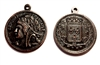 brass medallion,French coin medallions, rusted iron brass, antique copper, jewelry making, B'sue Boutiques, US Made, nickel free, brass stampings, vintage jewelry supplies, 0685