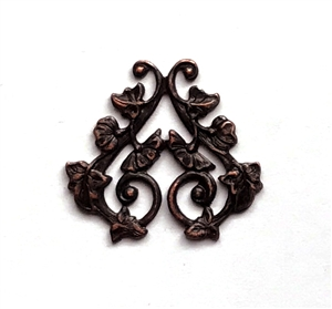 filigree drop, filigree, brass filigree, rusted iron brass, iron, brass stamping, vintage supplies, drop, brass filigree, B'sue Boutiques, US made, jewelry supplies, jewelry making, leaf wraps, nickel free, 30x28mm, earring, rusted iron, brass, 0698