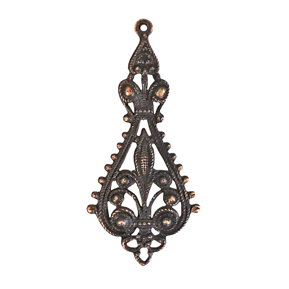brass filigree drop, rusted iron brass, antique copper, filigree, brass stamping, drop, filigree drop, victorian, pendent, charm, earring, brass filigree, us made, nickel free, jewelry making, jewelry findings, vintage supplies, jewelry supplies, 0717