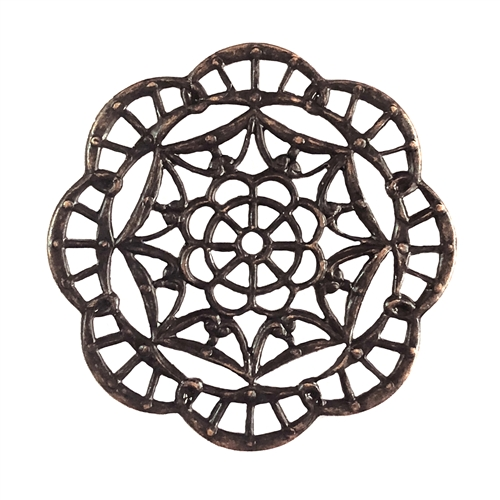 brass filigree, spider web filigree, jewelry making, 08568, rusted iron, B'sue Boutiques, nickel free, US made, brass jewelry supplies, vintage jewelry supplies, beading filigree, drilled center