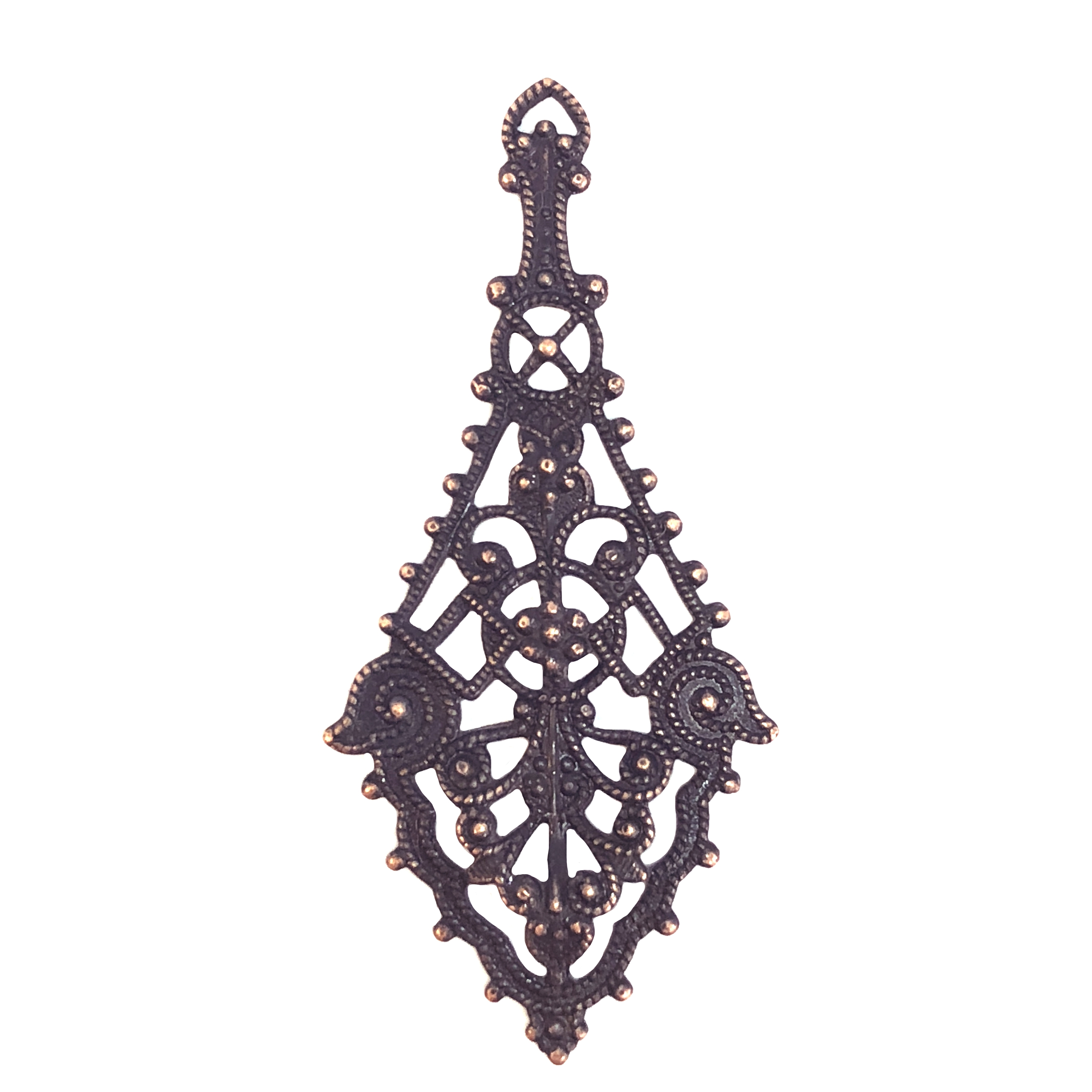 filigree drop, earring, pendant, 08573, rusted iron, copper accents, copper, filigree, earring drop, drop, filigree pendant, jewelry supplies, Bsue boutiques