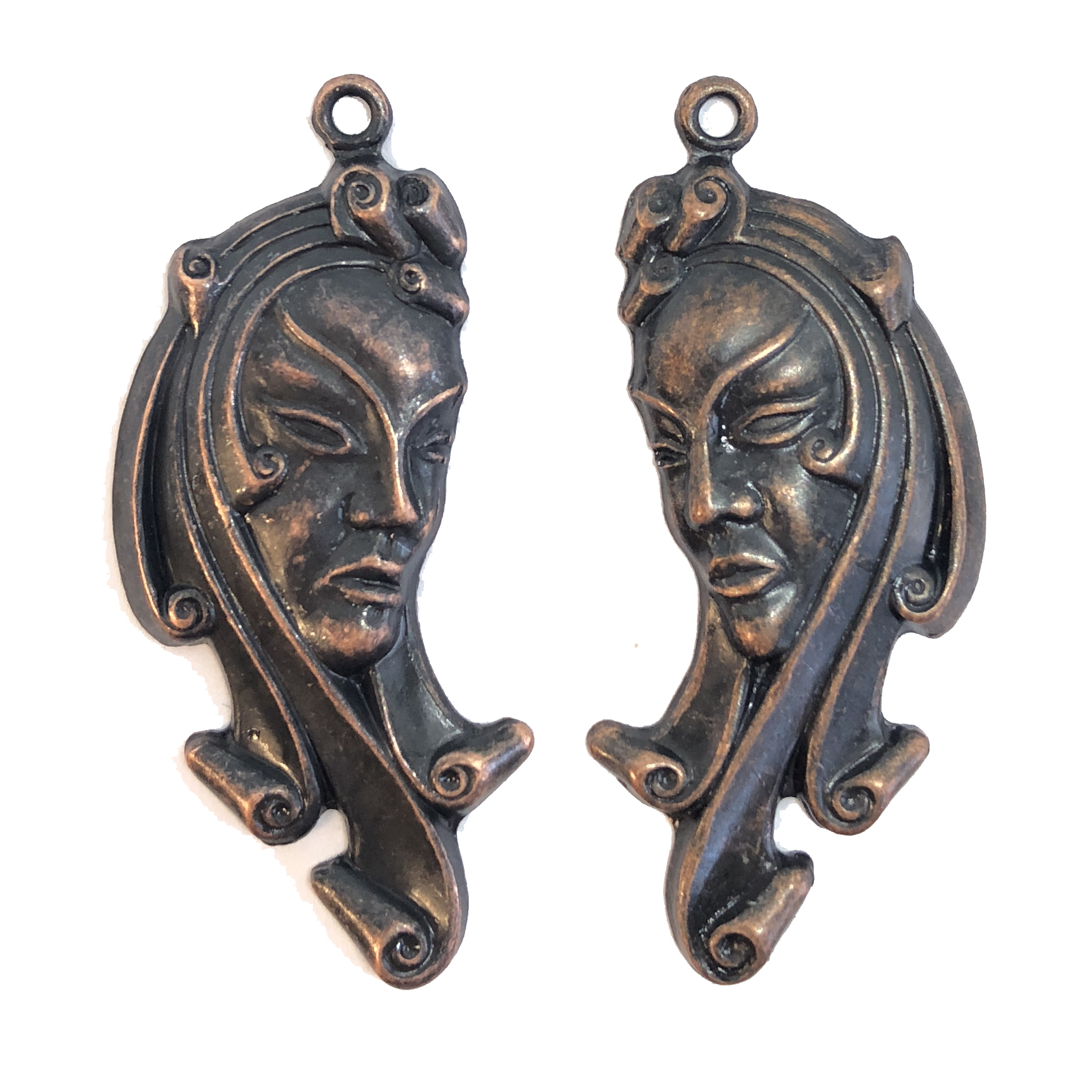 exotic lady, brass stampings, pair, 08611, earrings, ear drops, woman, lady, face, ethnic, woman's face, drops, Bsue Boutiques, jewelry supplies, plated brass, stamping, pair of earrings