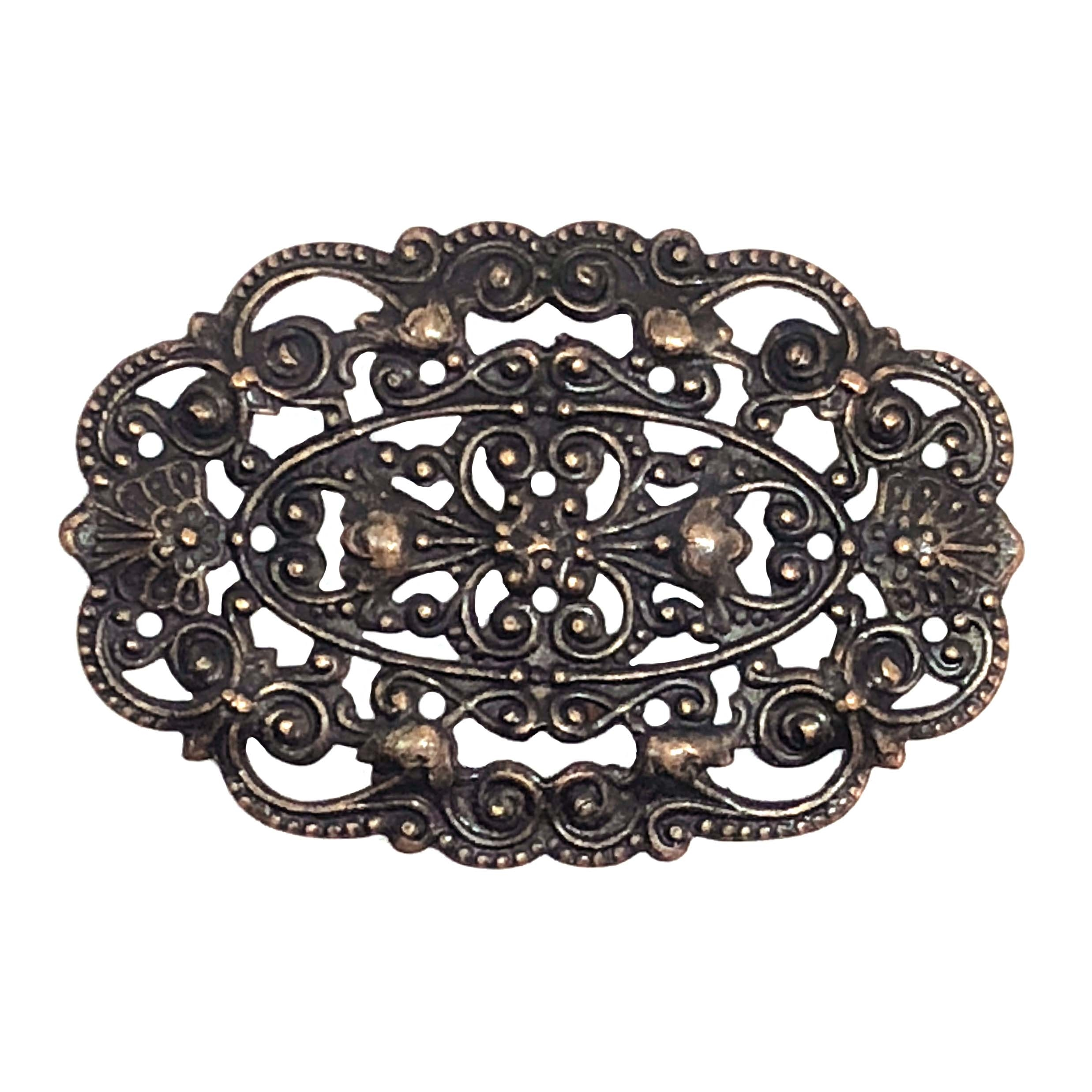 victorian beading filigree, rusted iron, filigree, beading filigree, victorian design, US made, nickel free, copper accents, filigree centerpiece, jewelry supplies, vintage supplies, jewelry making, B'sue Boutiques, 30x44mm, 08629, plaque