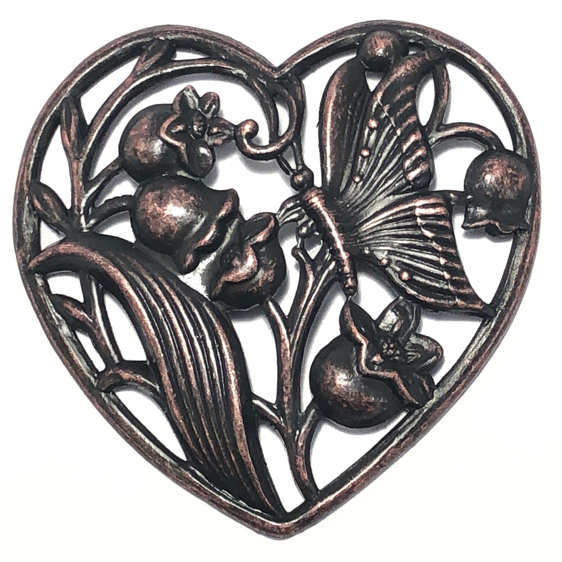brass hearts, lily of the valley heart, heart stampings, filigree hearts, 09588, jewelry making, silverware silver plate, black antiquing, jewelry making supplies, vintage jewelry supplies, US made, nickel free jewelry supplies