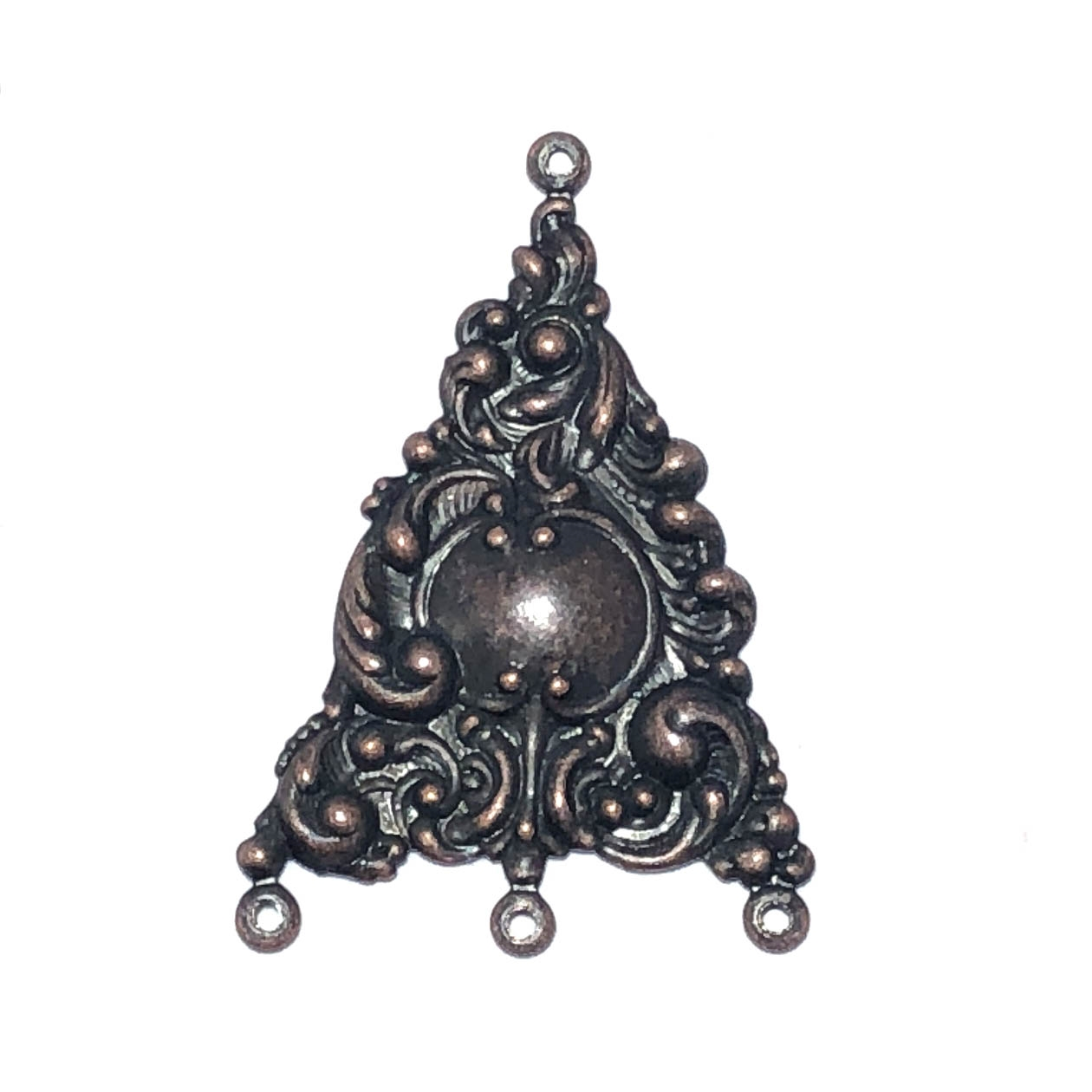 victorian gypsy ear drops, rusted iron brass, brass stamping, ear drops, pendant, earrings, floral, victorian, gypsy, us made, nickel free, 31x25mm, jewelry supplies, vintage supplies, jewelry findings, leafy motif, jewelry making, 09596