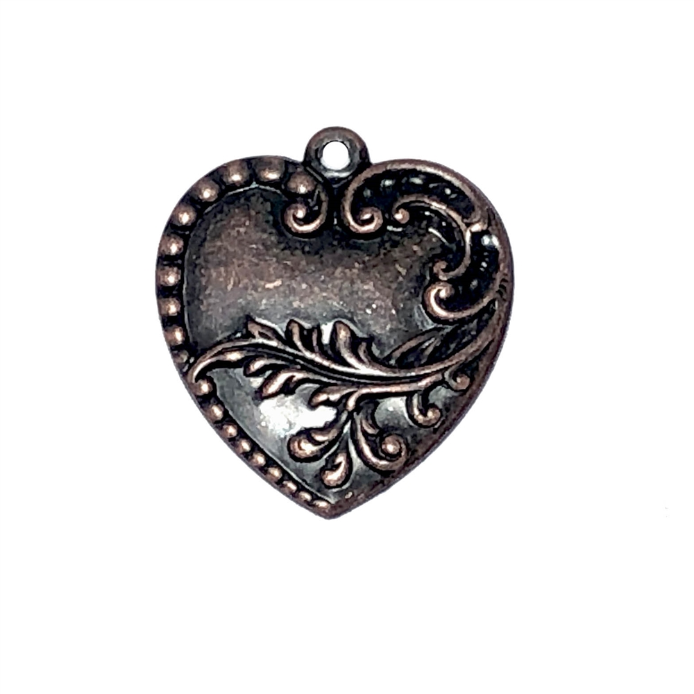 elegant floral heart pendant, rusted iron brass, pendant, heart charm, heart, floral, floral heart, 28x24mm, Victorian, antique copper, US made, nickel free, B'sue Boutiques, jewelry making, jewelry supplies, jewelry findings, vintage supplies,09598