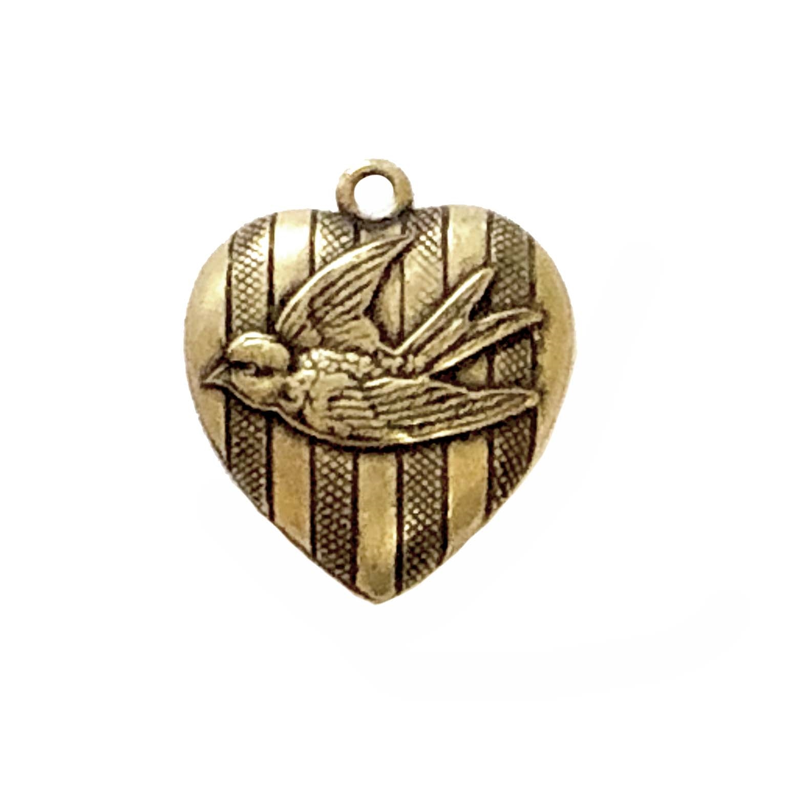 bird heart charms, bird charm, brass stamping, brass ox, nickel free, US made, 24mm, one sided, bird, pendent, locket, charm, heart, heart charm, jewelry findings, hollow back, B'sue Boutiques, bird heart, heart bird,01145