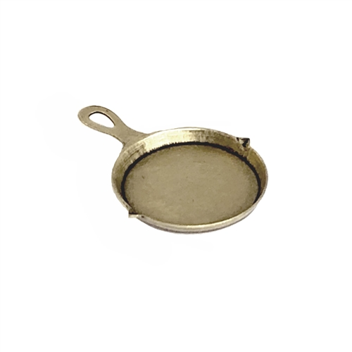 frying pan, charm, brass ox, 01214, embellishment, antique brass, black antiquing, charms, pots and pans, kitchen, cooking, chef, cook, pan, pot, brass charm, Bsue Boutiques, jewelry supplies