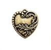 Brass Hearts, Victorian Floral Heart Charm, Brass Ox, Brass Stamping, Charm, Pendent, Locket, Heart, Floral Design, Victorian, 28 x 24mm, Heart Charm, US Made, Nickel Free, Jewelry Findings, B'sue Boutiques, Floral, 01276, Vintage Supplies, Parts