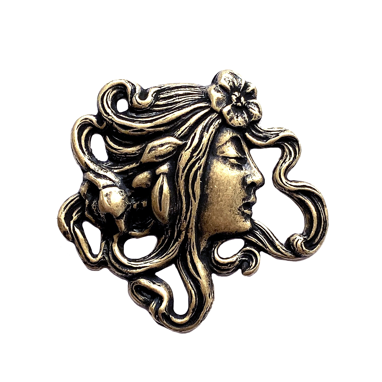 lady in the wind stamping, brass ox, bohemian style, lady stamping, lady face, brass stamping, boho style, jewelry making, jewelry supplies, vintage supplies, B'sue Boutiques, antique brass, 36x36mm, US-made, nickel-free, 01331