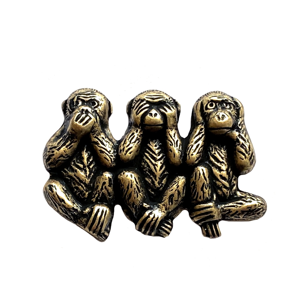 see no, hear no, speak no evil monkeys, brass ox, antique brass, monkeys, see no, hear no, speak no, monkey stamping, 24 x 34mm, jewelry making, jewelry supplies, vintage supplies, B'sue Boutiques, no evil monkeys, brass stamping, animal jewelry, 01334