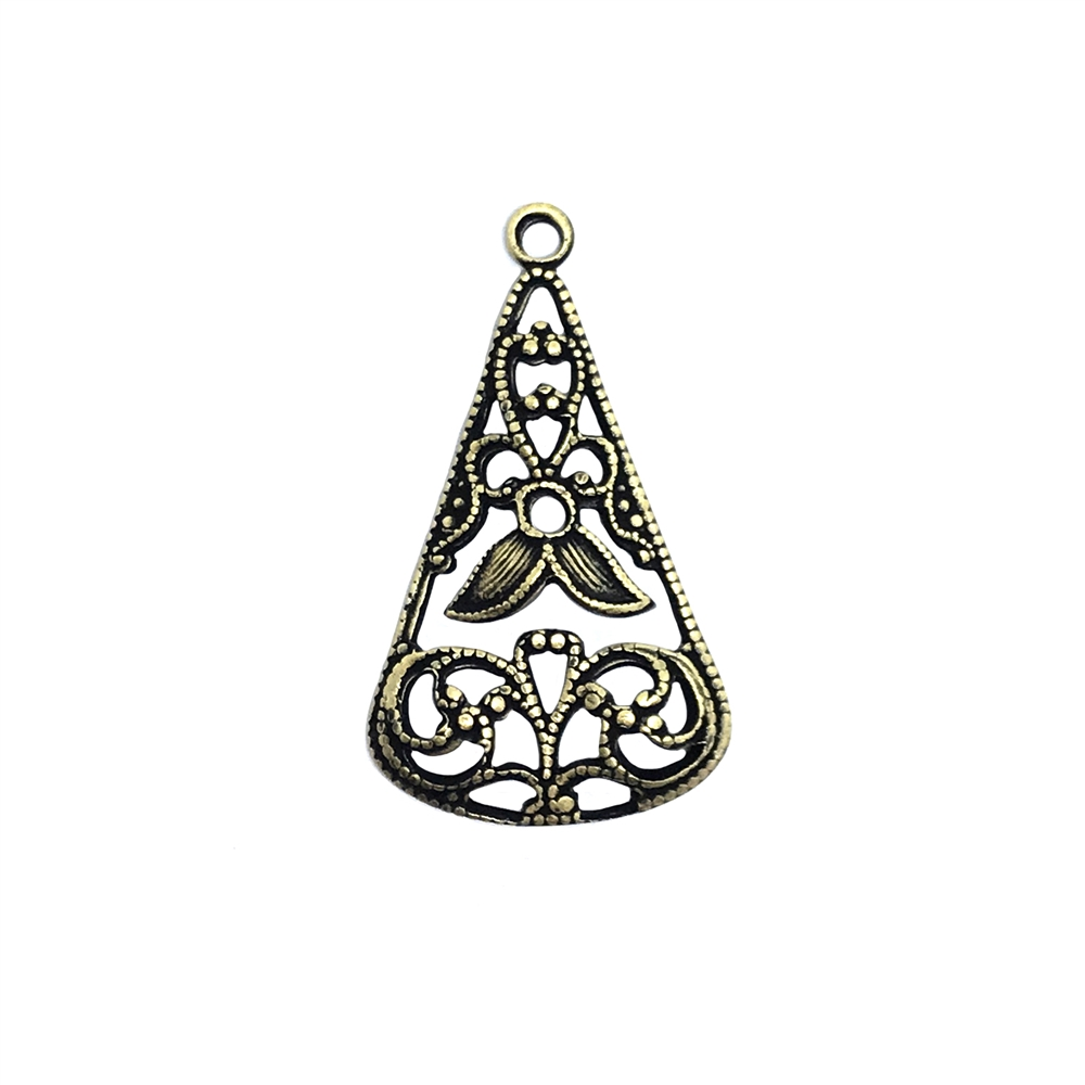 Antiqued Copper Victorian Filigree Earring Pendant Finding