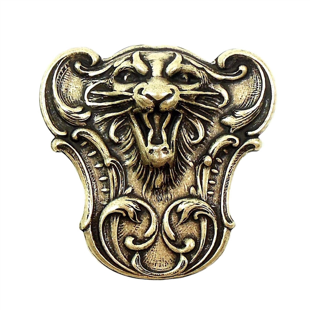 Brass Tiger, Roaring Tiger, Brass Ox, Victorian, Brass Stamping, 47 x 47mm, Tiger, Tiger Stamping, Us Made, Nickel Free, Jewelry Findings, B'sue Boutiques, Antiquing, Dapt Tiger Face, 01405