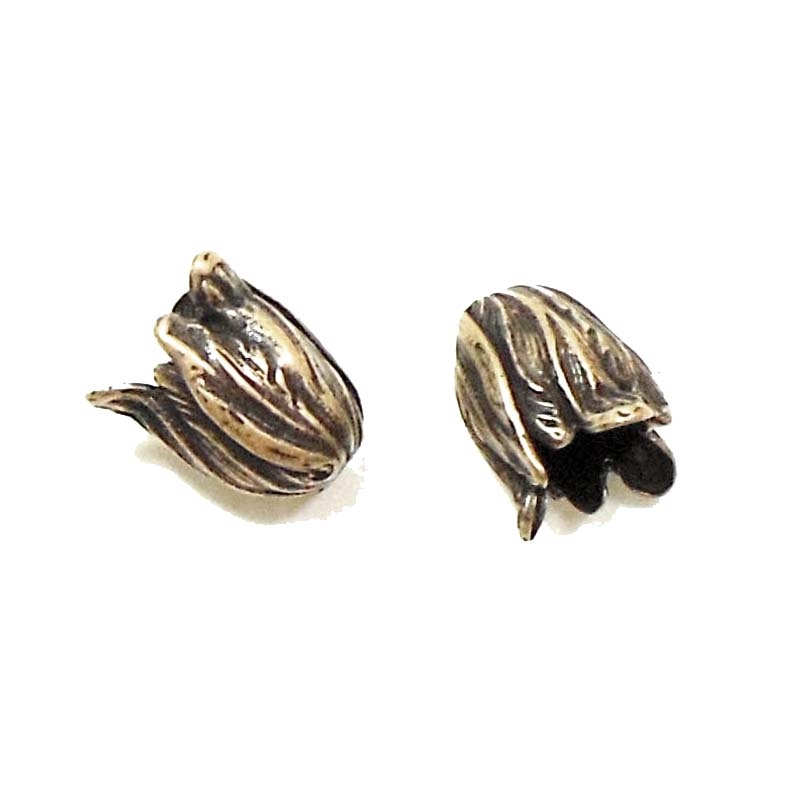 Brass Tulip Beads, Brass Flowers, Mini Tulip Beads, Brass Ox, US Made, Nickel Free, 13mm, Flowers, Tulip, Brass Stamping, Jewelry Findings, Brass Leaves, Brass Roses, Nickel Free, B'sue Boutiques, Beadcap, 01408