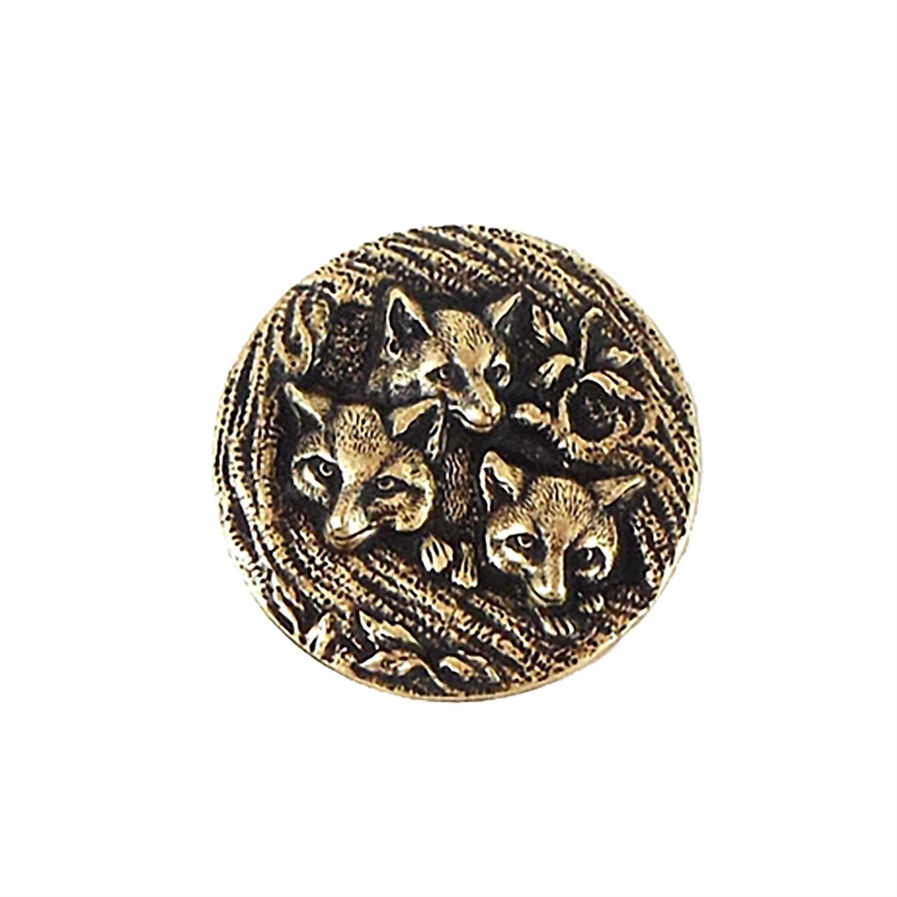 foxes stamping, brass ox, vintage style, brass stamping, 21mm, us made, jewelry findings, nickel free, button, charm, vintage, B'sue Boutiques, fox, antique brass, animal stamping, vintage supplies, jewelry making, jewelry supplies, 01410