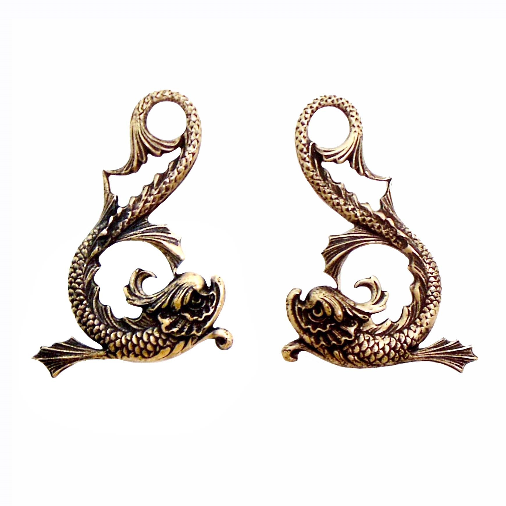 Fish Stamping, Serpents, Fish Pairs, Serpent Stamping, Brass Ox, Brass Stamping, Art Nouveau, Fish, Brass Serpent, Looped Tail, 42 x 31mm, Nickel Free, Us Made, Jewelry Findings, Pendent, B'sue Boutiques, 01426