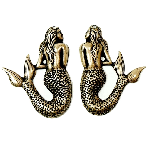 Mermaid Pairs, Stamping, Brass Ox, Brass Stamping, Brass Mermaids, Mermaid, Pairs, 2 pieces, Victorian Style, Drilled, Us Made, Nickel Free, Jewelry Findings, B'sue Boutiques, 01586