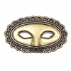 Masquerade Mask, Brass Ox, Brass Stamping, Mask, Steampunk, Charm, Pendent, 25 x 42mm, Dapt Nose, Design Elements, Embellishments, Us Made, Nickel Free, Jewelry Findings, Jewelry Supplies, B'sue Boutiques, 01655