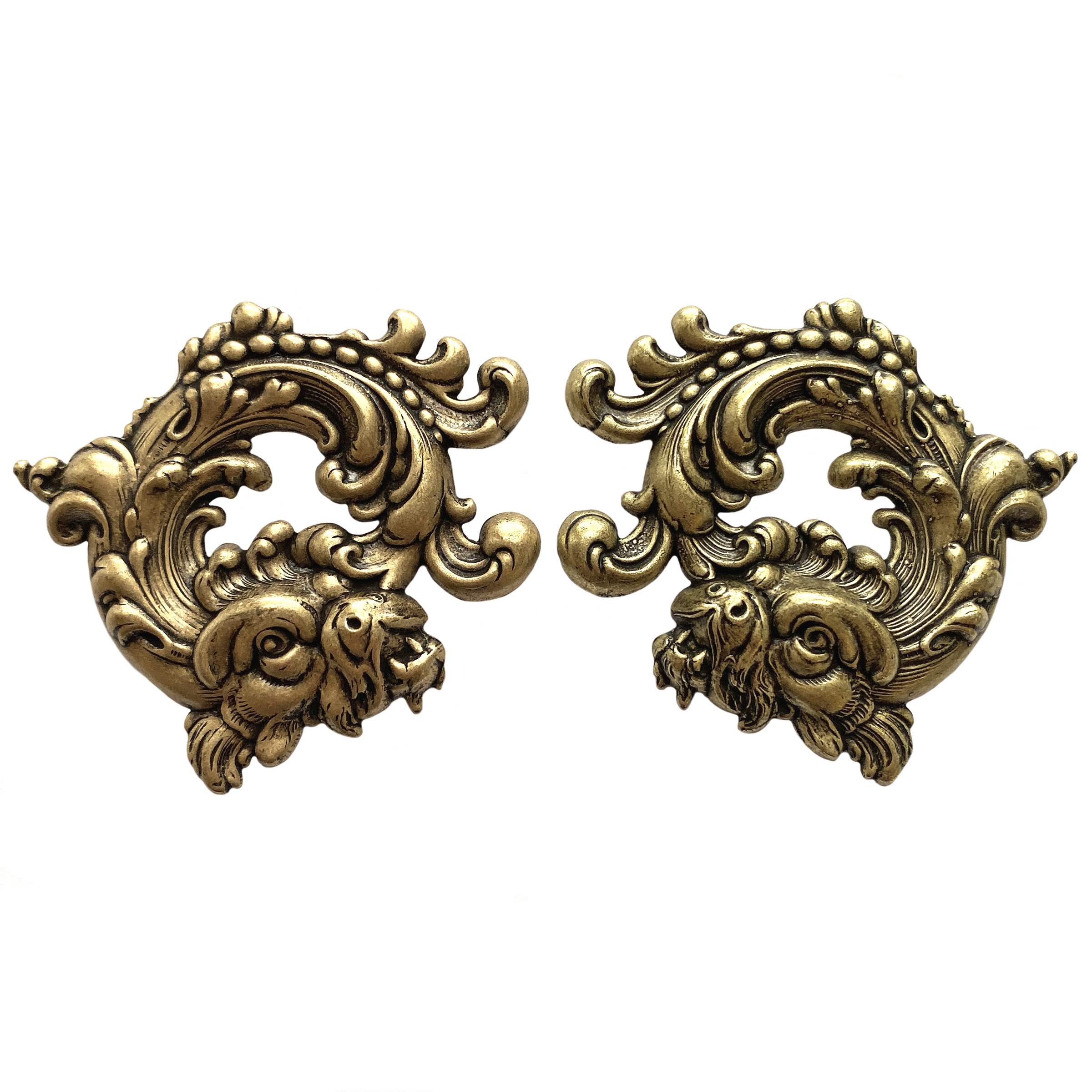 steampunk curved dragons, brass ox, antique brass, steampunk art, dragons, dragon jewelry, goth jewelry, 45x50mm, left and right dragons, curved dragon, dragon stamping, jewelry making, vintage supplies, jewelry supplies, B'sue Boutiques, 01696