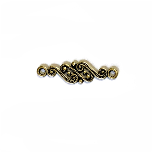 Swirly Style Connector, Brass, Ox, Connector, Brass Stamping, Brass Connector, Swirly Style, Double Hole, 8x28mm, Us Made, Nickel Free, B'sue Boutiques, Jewelry Findings, Vintage Supplies, Jewelry Supplies, Victorian, Stamping Brass, 02019