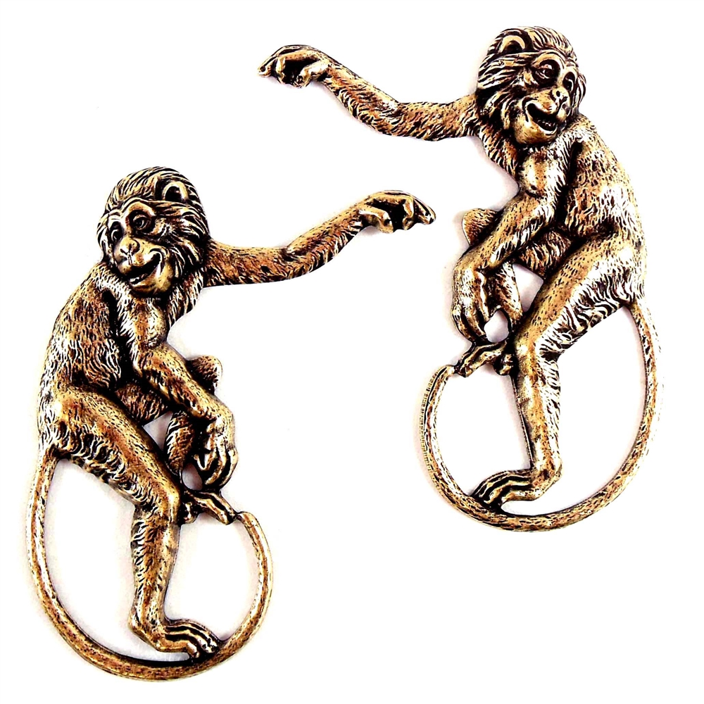 victorian monkeys, brass ox, brass Stamping, stamping, brass monkeys, jungle jewelry, 48x35mm, monkey, victorian style, pairs, left, right, left and right facing, us made, nickel free, B'sue Boutiques, jewelry findings, vintage supplies, 02038