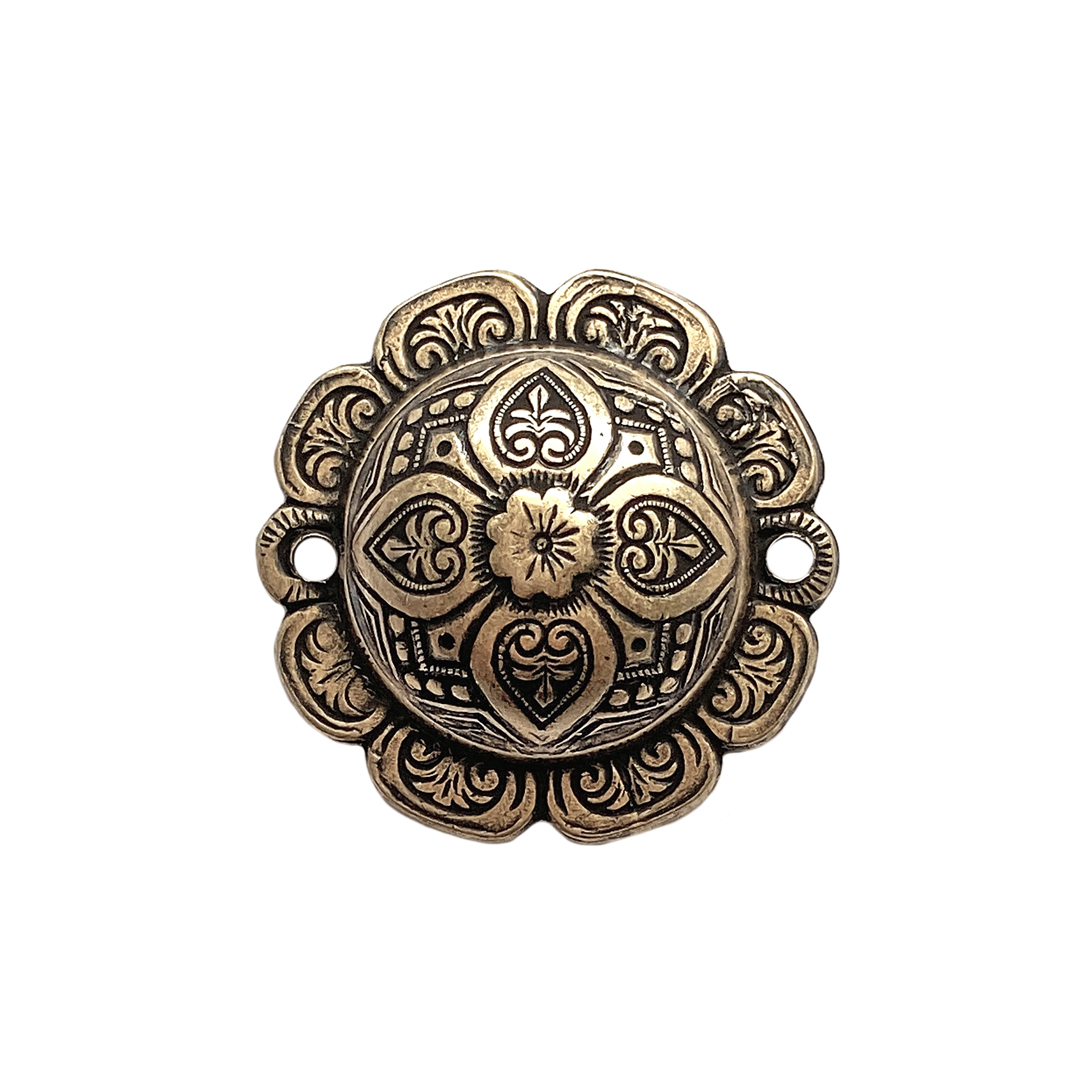 domed connector, brass ox, connector, 27mm, brass stamping, domed, dapt, Victorian, floral pattern, floral, floral design, connector, US-made, nickel-free, B'sue Boutiques, vintage supplies, jewelry findings, jewelry supplies, stampings brass, 02079