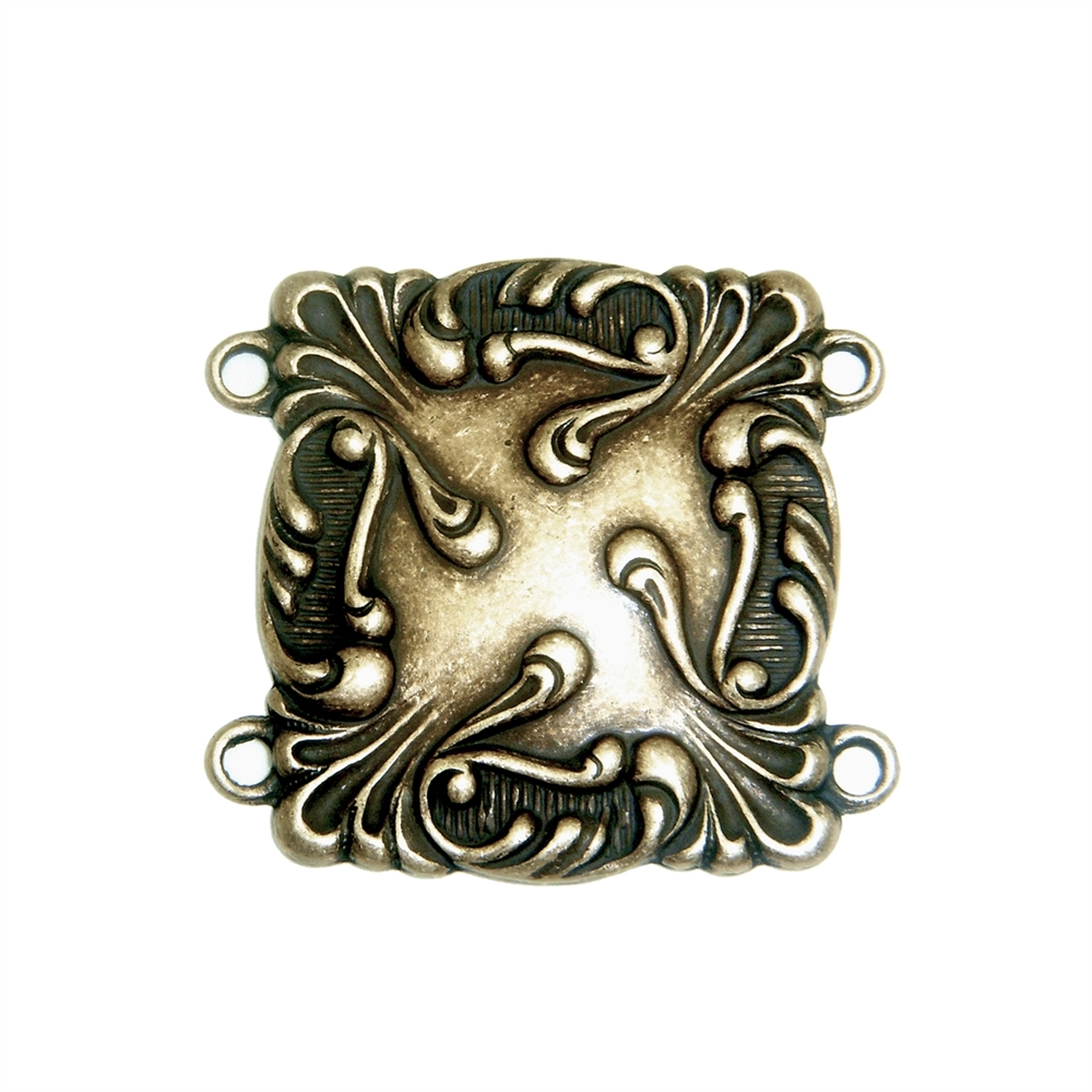 Bracelet Connector, Brass Ox, Art Nouveau, Brass Connector, Connector, Brass Stamping, 29 x 27mm, Four Hole Design, Bracelet, Jewelry Supplies, B'sue Boutiques, Jewelry Findings, Vintage Supplies, Us Made, Nickel Free, Parts, Stampings Brass, 02157